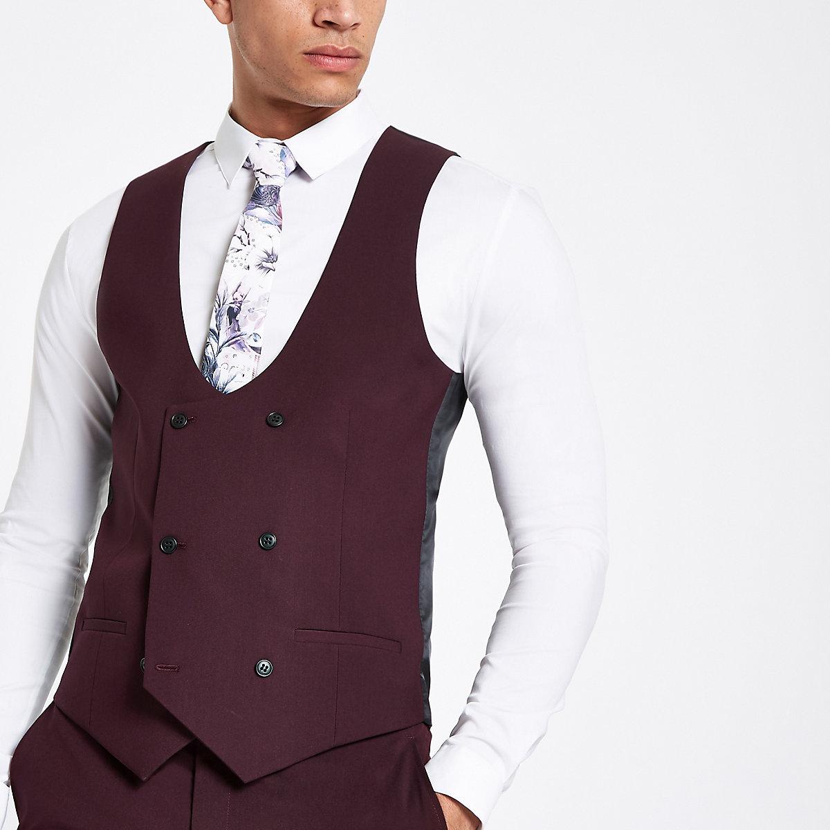Purple stretch fit suit waistcoat