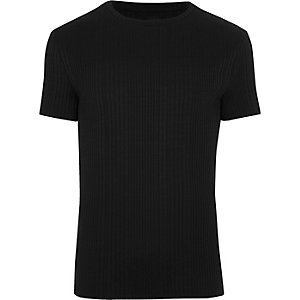 Schwarzes Muscle Fit Rippen-T-Shirt