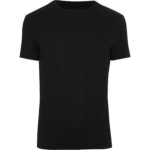 Black chunky rib muscle fit crew neck T-shirt
