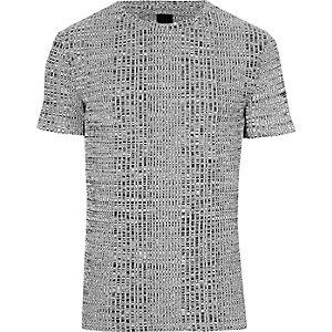 Grijs aansluitend T-shirt met ronde hals en ribbels
