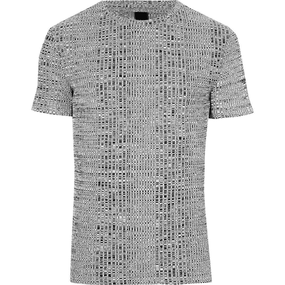 T-shirt ajusté côtelé gris à col ras du cou