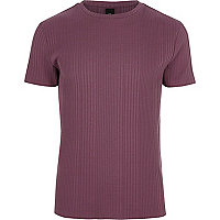 Pink chunky rib muscle fit T-shirt