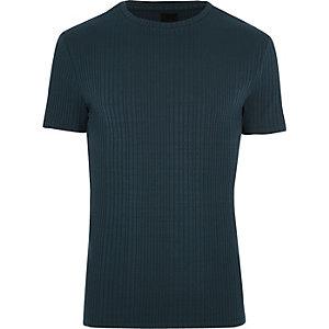 T-shirt ajusté bleu marine à col ras-du-cou et grosses côtes
