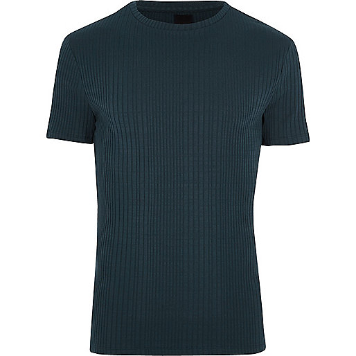 Navy chunky rib muscle fit crew neck T-shirt