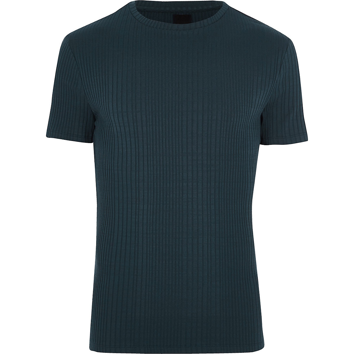 Navy ribbed muscle fit crew neck T-shirt