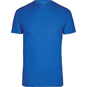 Blaues Muscle Fit T-Shirt mit Rundhalsausschnitt