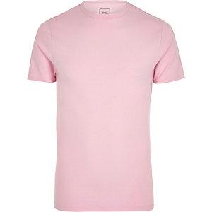 T-shirt ajusté ras-du-cou rose