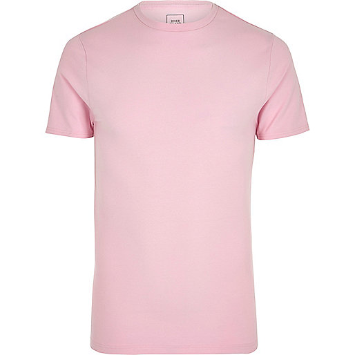 Pink muscle fit crew neck T-shirt