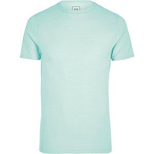 Grünes Muscle Fit T-Shirt mit Rundhalsausschnitt