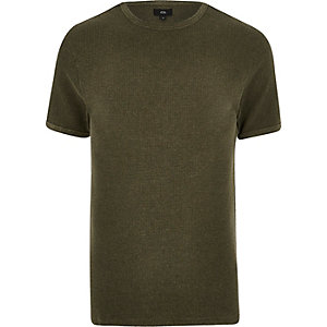 Dunkelgrünes Slim Fit T-Shirt