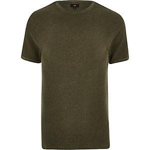 Dark green waffle slim fit T-shirt