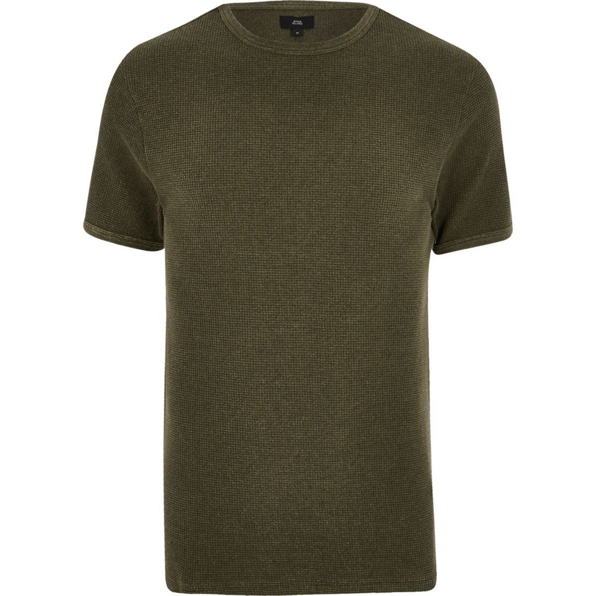 Dark green waffle slim fit T-shirt