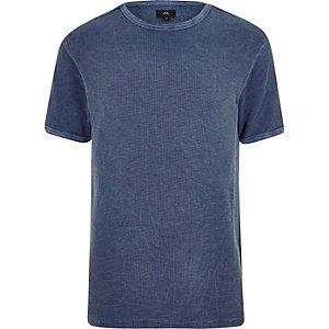 Blauw slim-fit T-shirt met wafeldessin