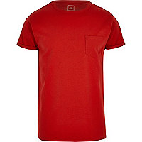 Red rolled sleeve pocket T-shirt