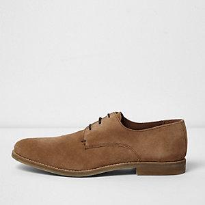 Chaussures habillées en daim marron