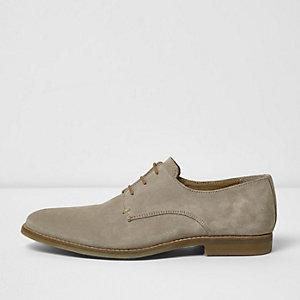 Steingraue, elegante Derby-Schuhe aus Wildleder