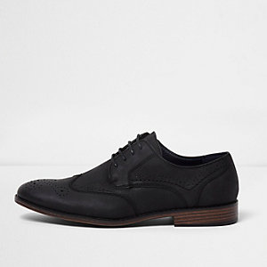 Black croc embossed brogue shoes