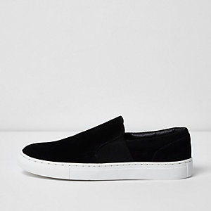 Black perforated slip on plimsolls