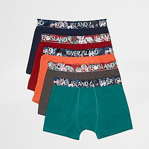 Multipack marineblauwe strakke boxers met bloemenprint in verschillende kleuren