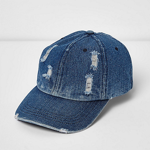 Blue distressed denim baseball cap