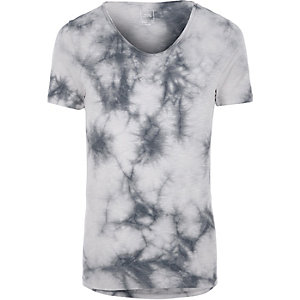 Grey tie dye muscle fit V neck T-shirt