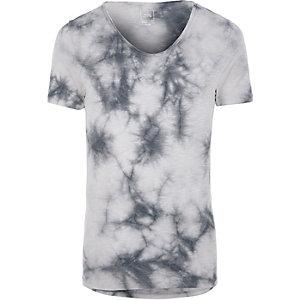 T-shirt ajusté effet tie and dye gris à col en V