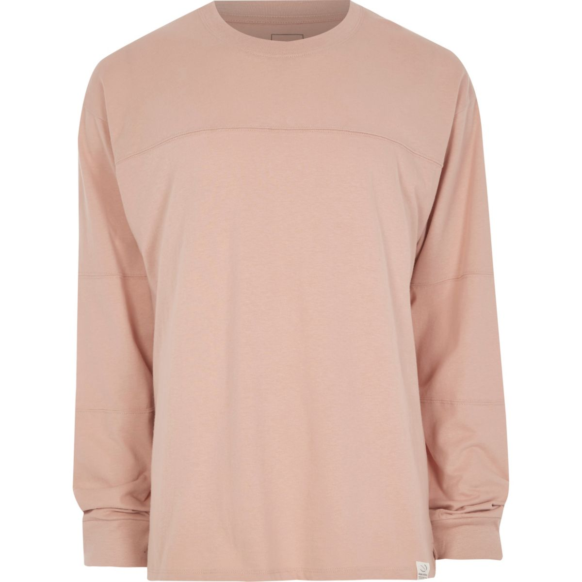 Pink panel oversized long sleeve T-shirt
