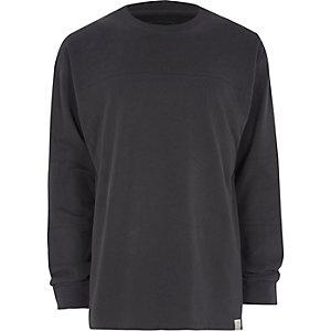 T-short oversize gris foncé à empiècements à manches longues