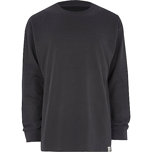 Dark grey panel oversized long sleeve T-shirt