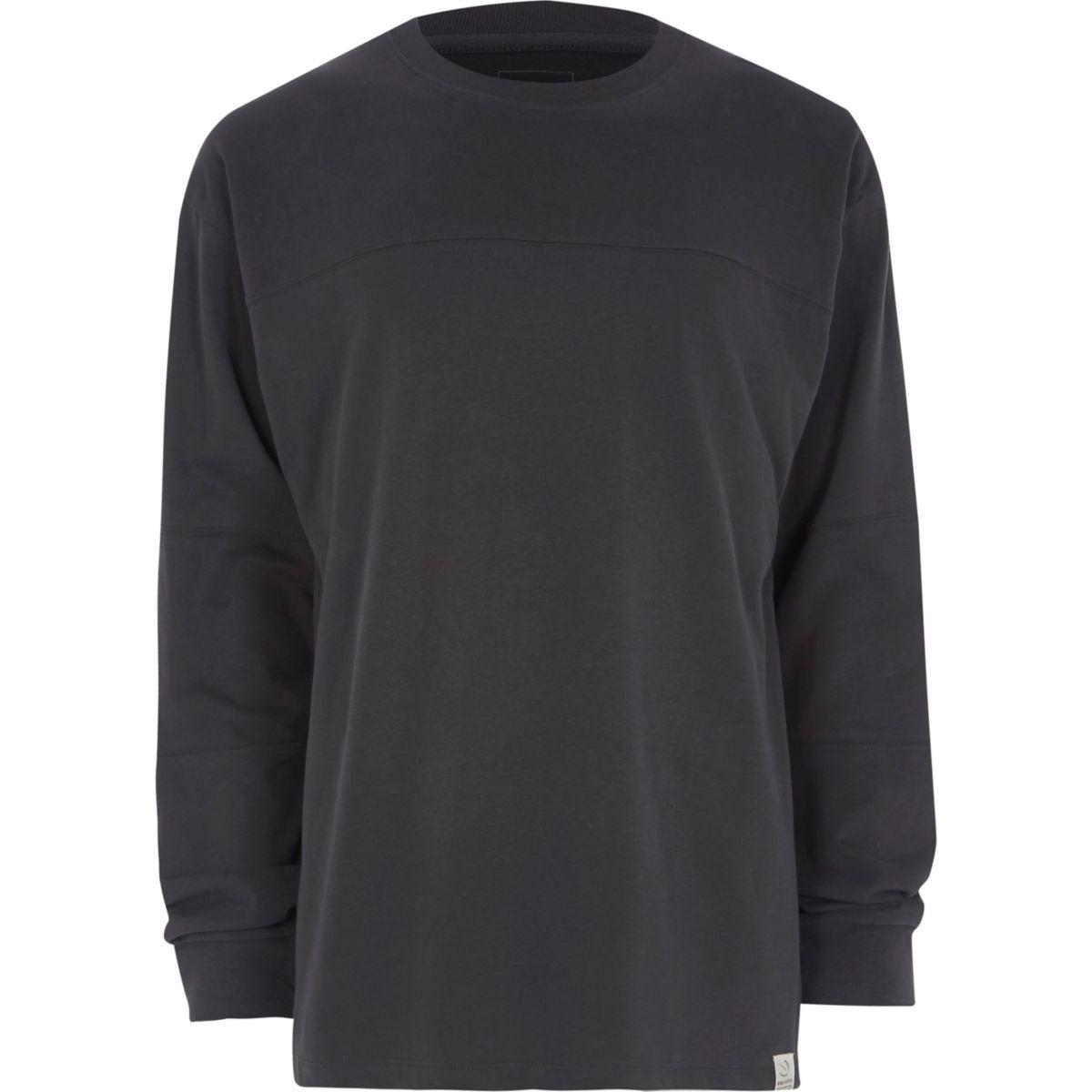 Dark grey panel oversized long sleeve T-shirt