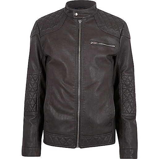 Grey faux leather racer jacket