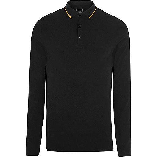 Black tipped muscle long sleeve polo shirt