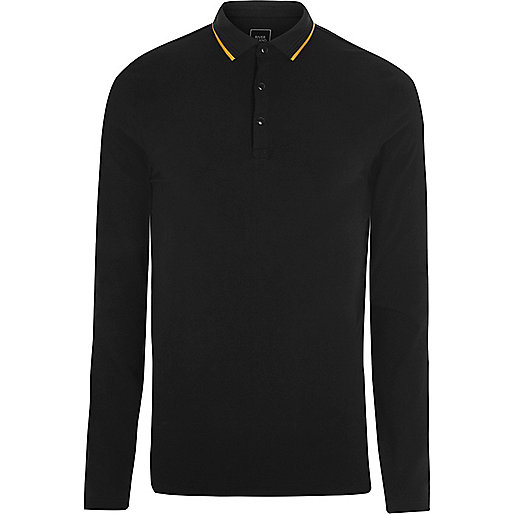 Black tipped muscle long sleeve polo shirt