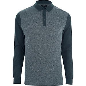 Marineblaues, langärmliges Slim Fit Polohemd
