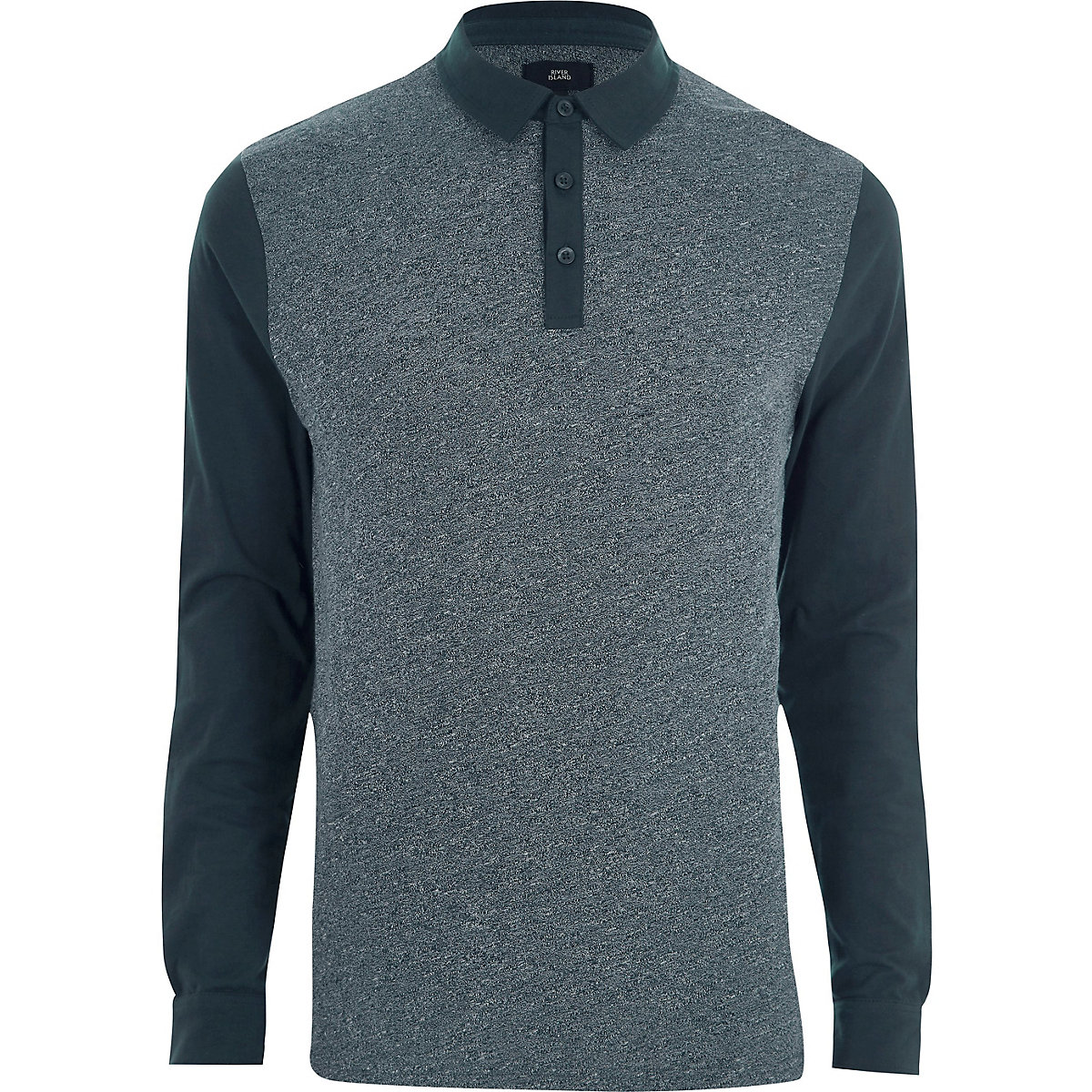 Navy slim fit block long sleeve polo shirt