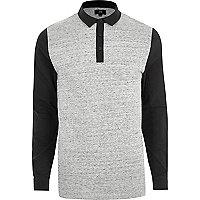 Polo slim colour block gris à manches longues
