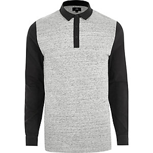 Graues, langärmliges Slim Fit Polohemd