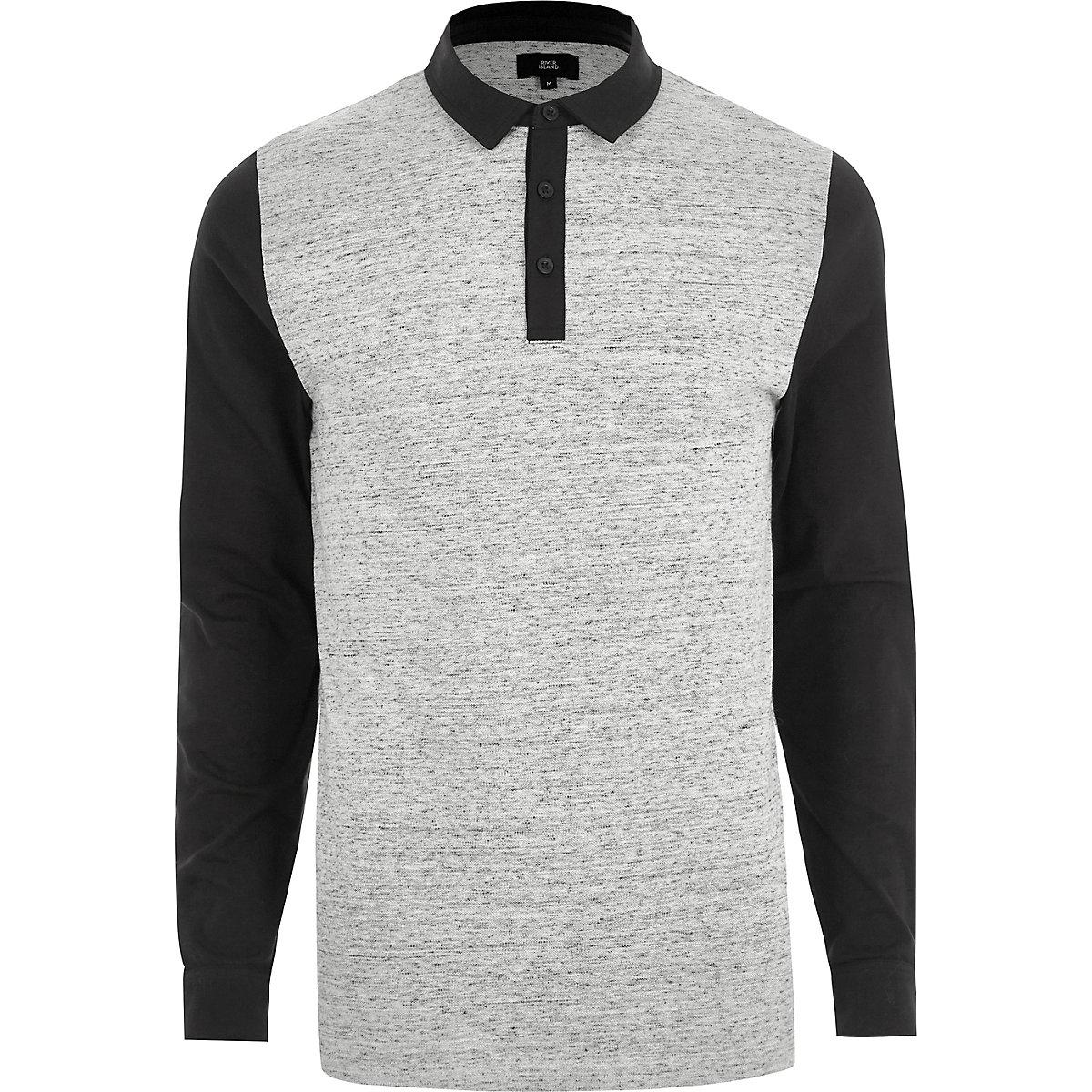 Grey slim fit block long sleeve polo shirt