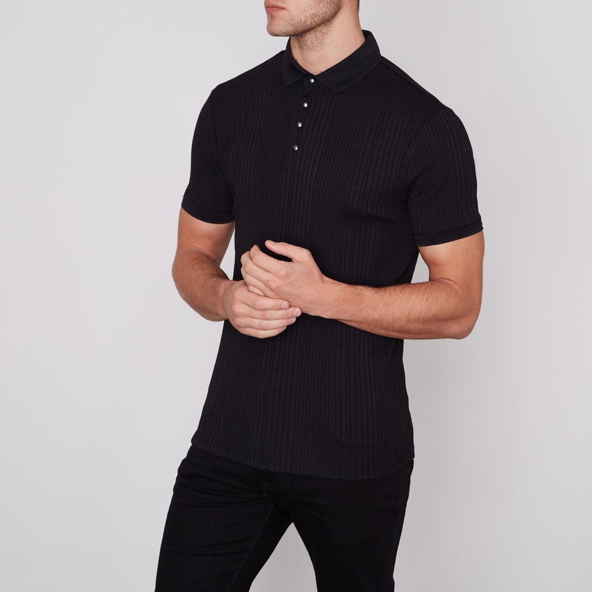 Black muscle fit ribbed polo shirt polo shirts men for Black fitted polo shirt
