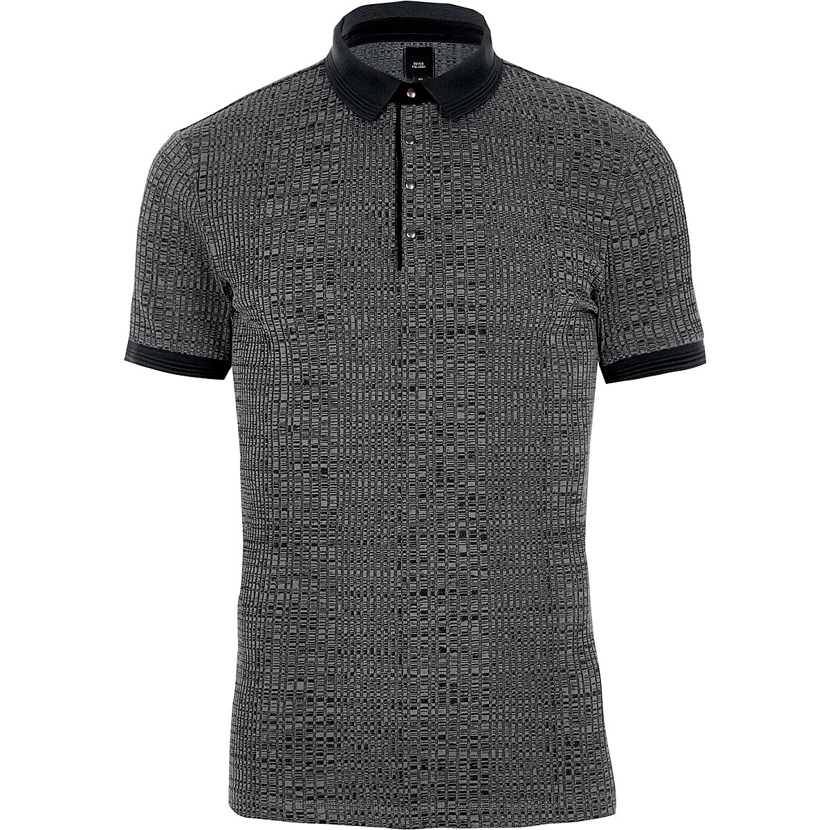 Dark grey muscle fit ribbed polo shirt