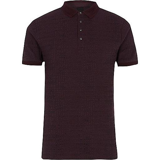 Dark red chunky ribbed muscle fit polo shirt
