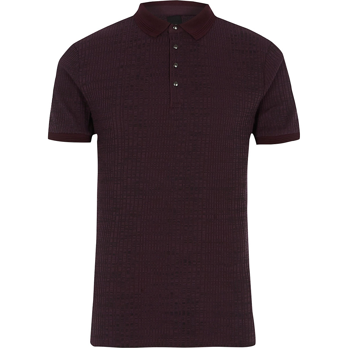 Burgundy ribbed muscle fit polo shirt