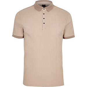 Stone ribbed muscle fit polo shirt
