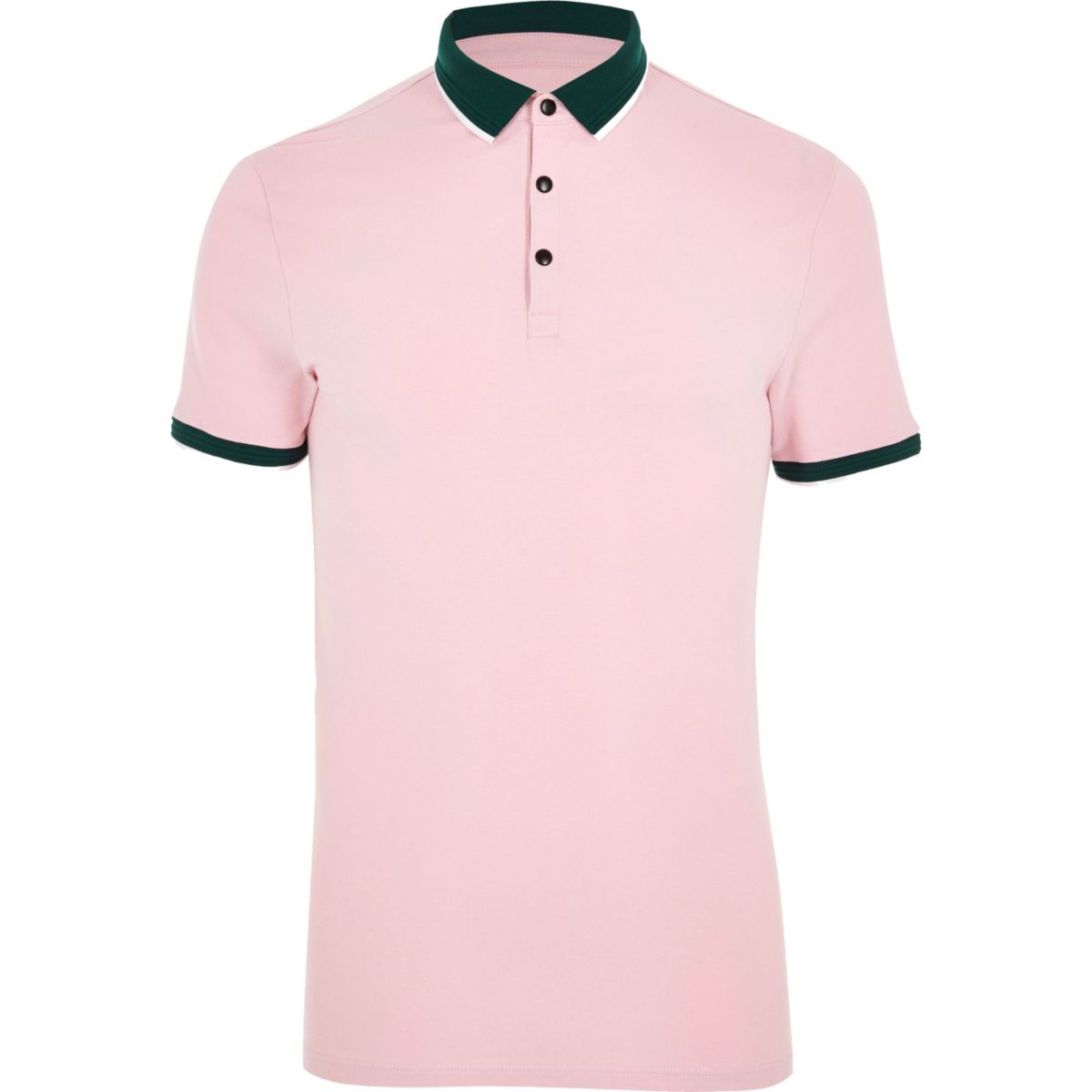 Pink tipped muscle fit polo shirt