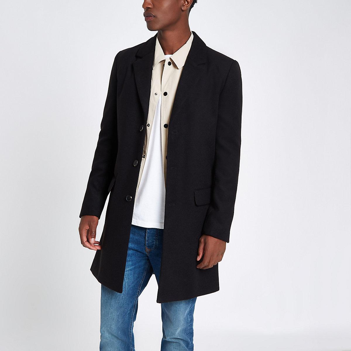 Black smart overcoat