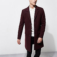Dark red smart overcoat