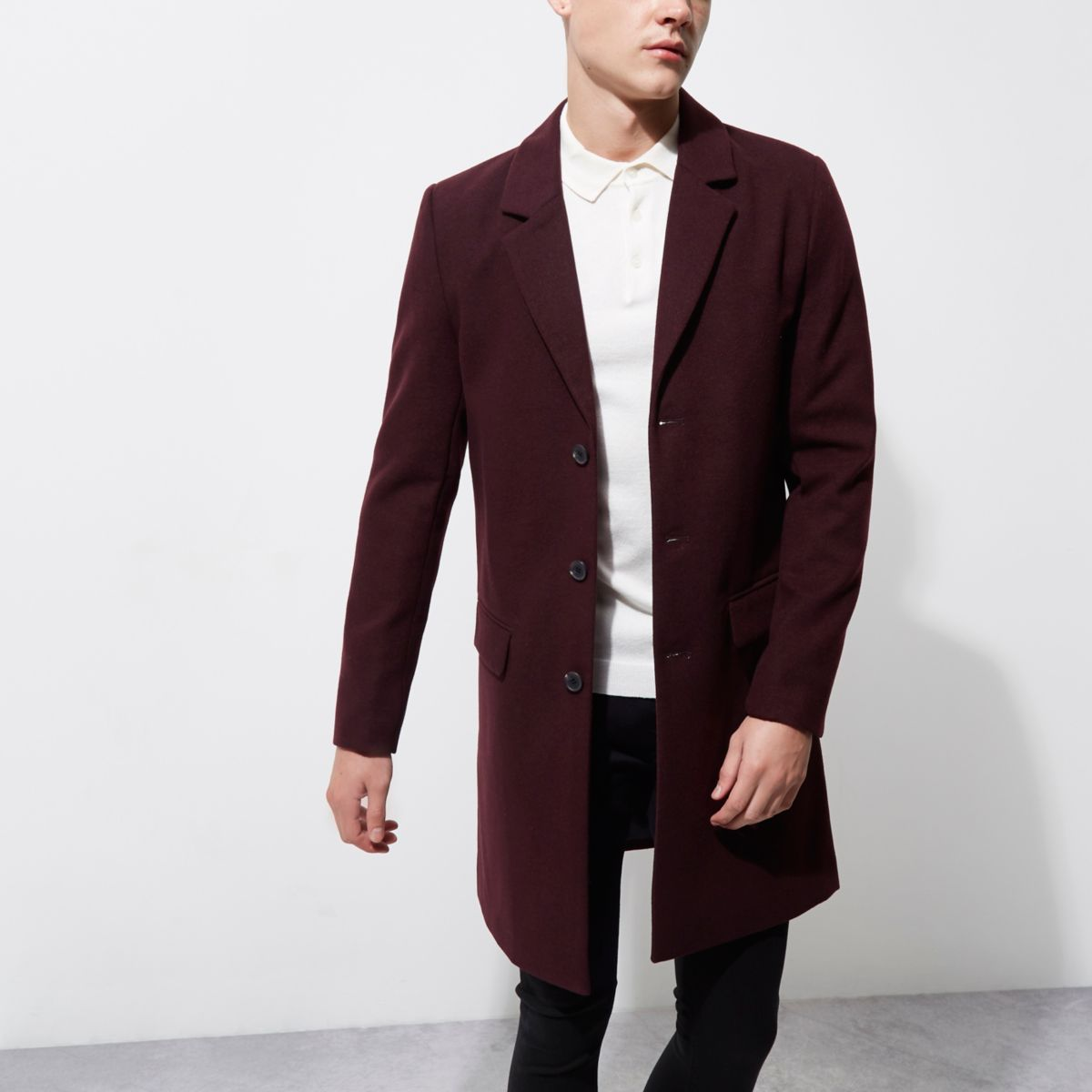 Dark red smart overcoat