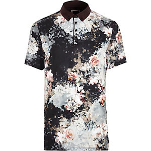 Black floral print slim fit smart polo shirt
