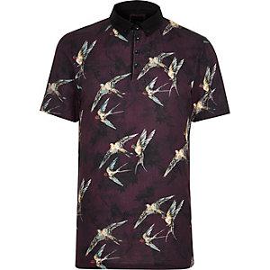 Red bird print slim fit polo shirt