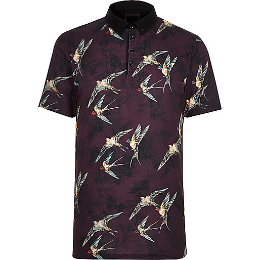 Red bird print slim fit polo shirt